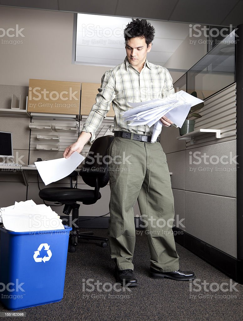 office worker recycling royalty-free stock photo