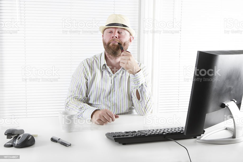 Office Worker Smoking Tobacco Pipe stock photo