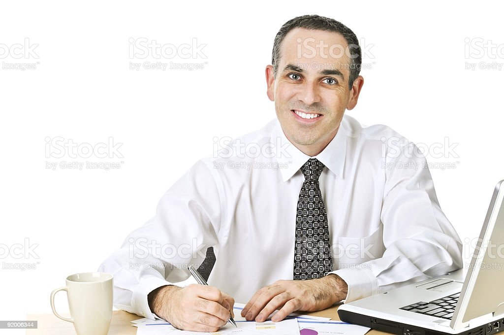Office worker studying reports royalty-free stock photo