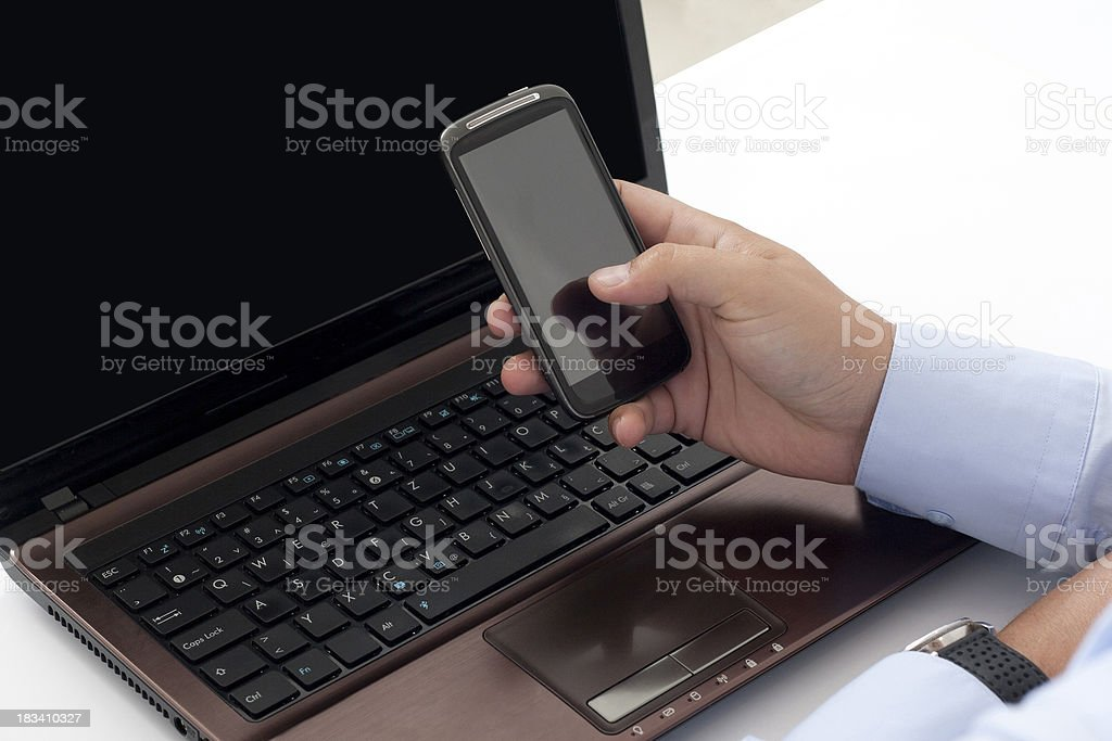 office worker touching your mobile phone royalty-free stock photo