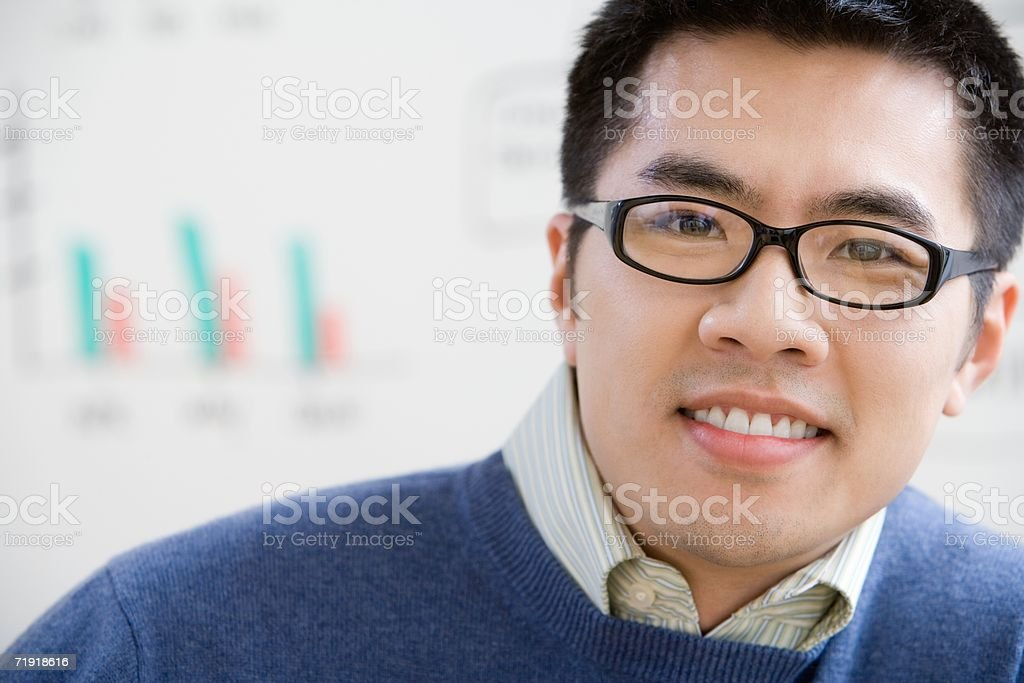 Office worker wearing glasses stock photo