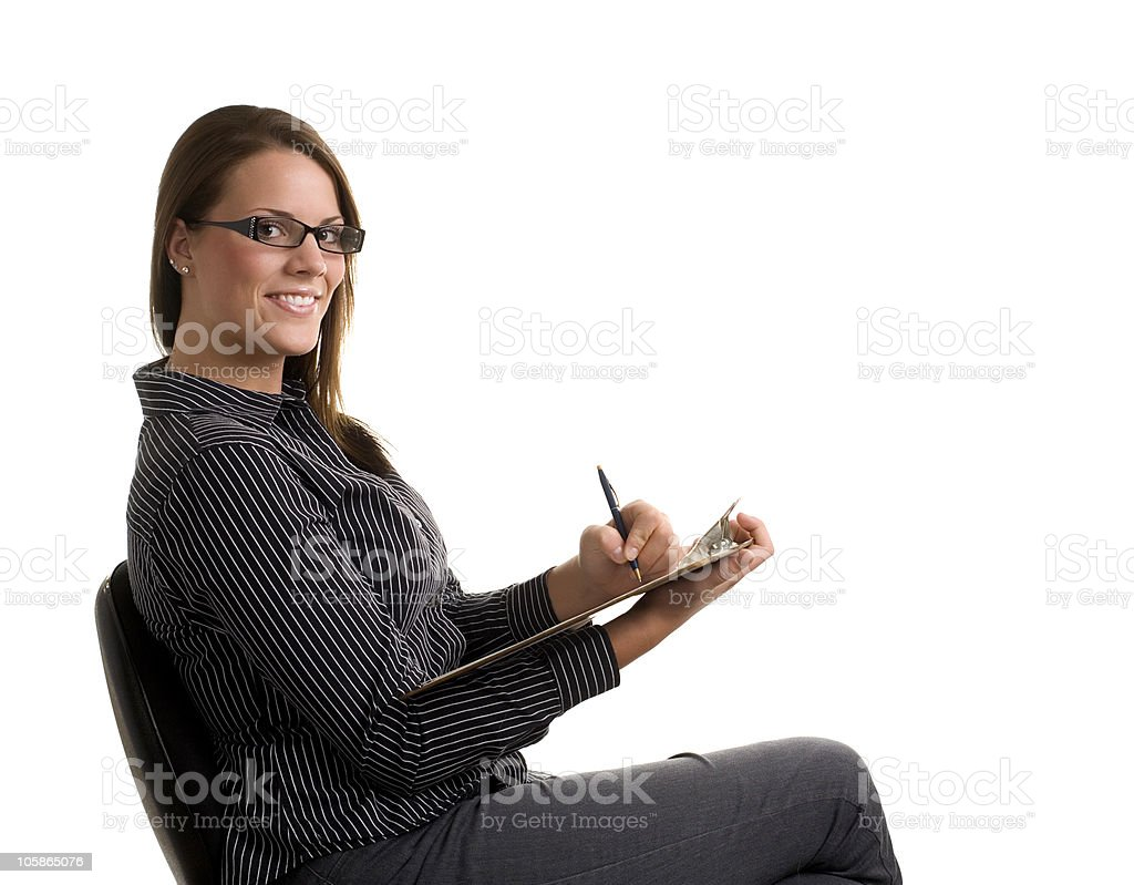 Office worker with clipboard royalty-free stock photo