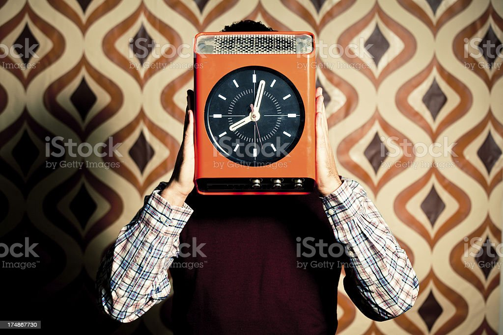 Office Worker with Clock Face royalty-free stock photo