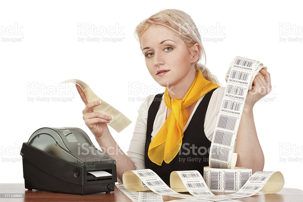 Office worker with the barcode label stock photo