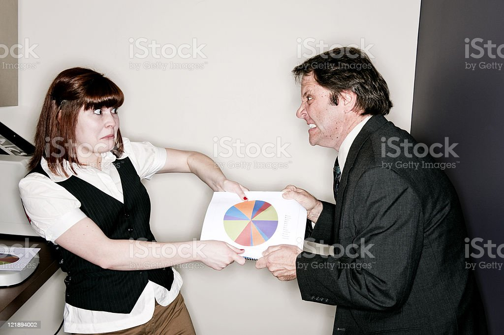 Office Workers Fighting royalty-free stock photo