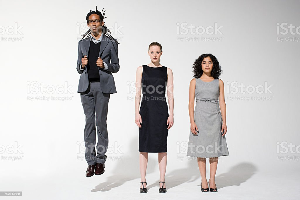 Office workers in a row stock photo