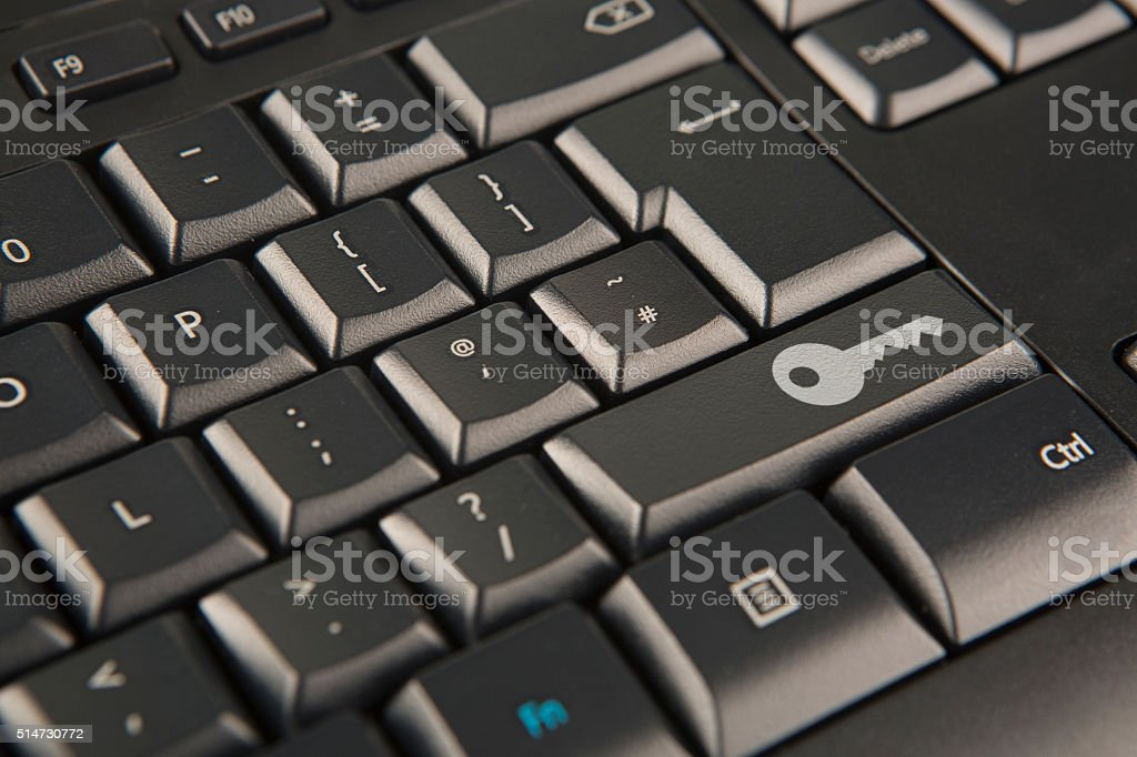 Office workers keyboard stock photo