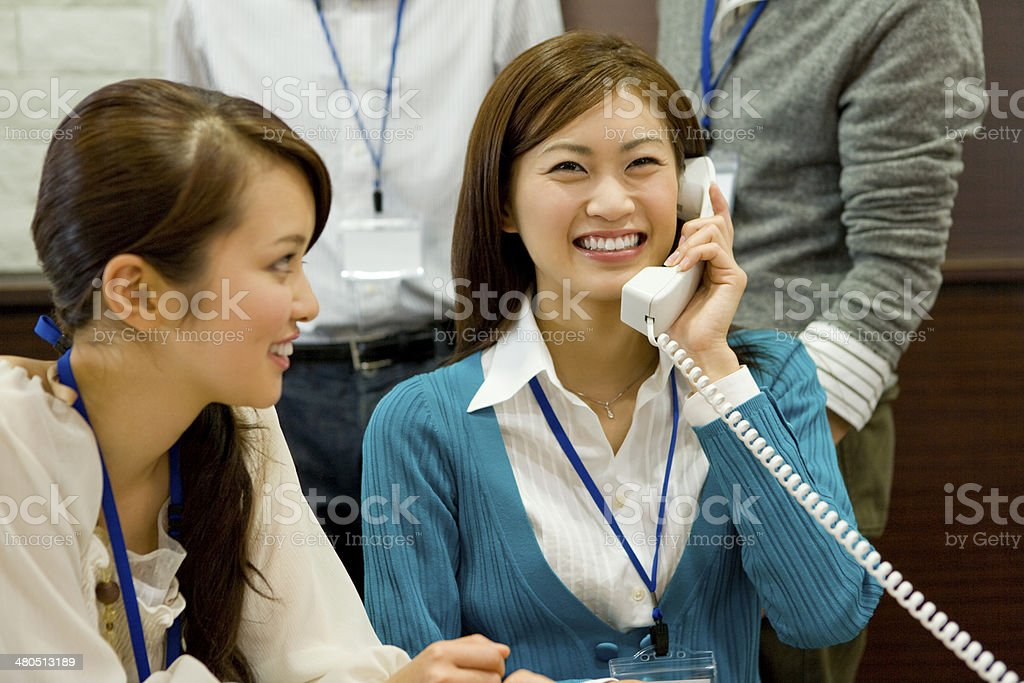 Office workers pleased with good news royalty-free stock photo