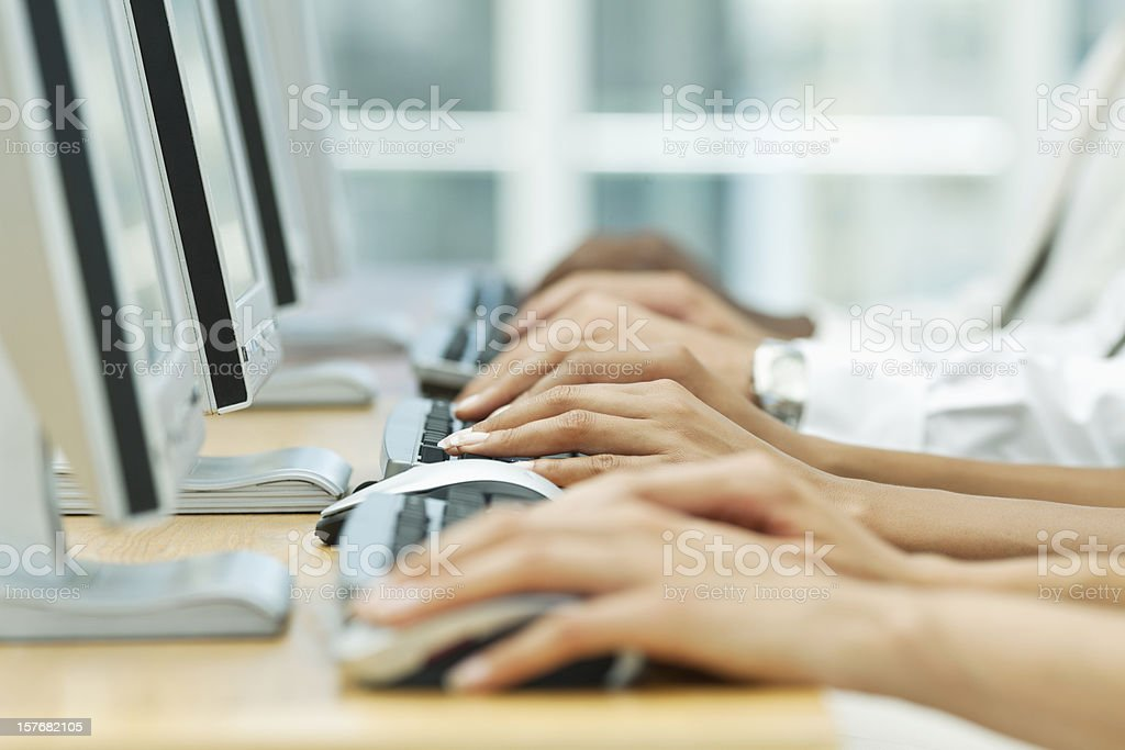 Office Workers Using Computers royalty-free stock photo