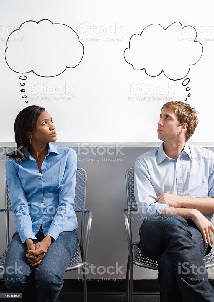 Office workers with thought bubbles royalty-free stock photo