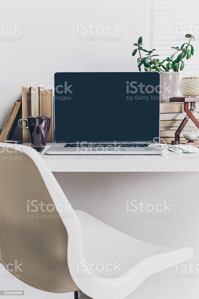 office working desk stock photo