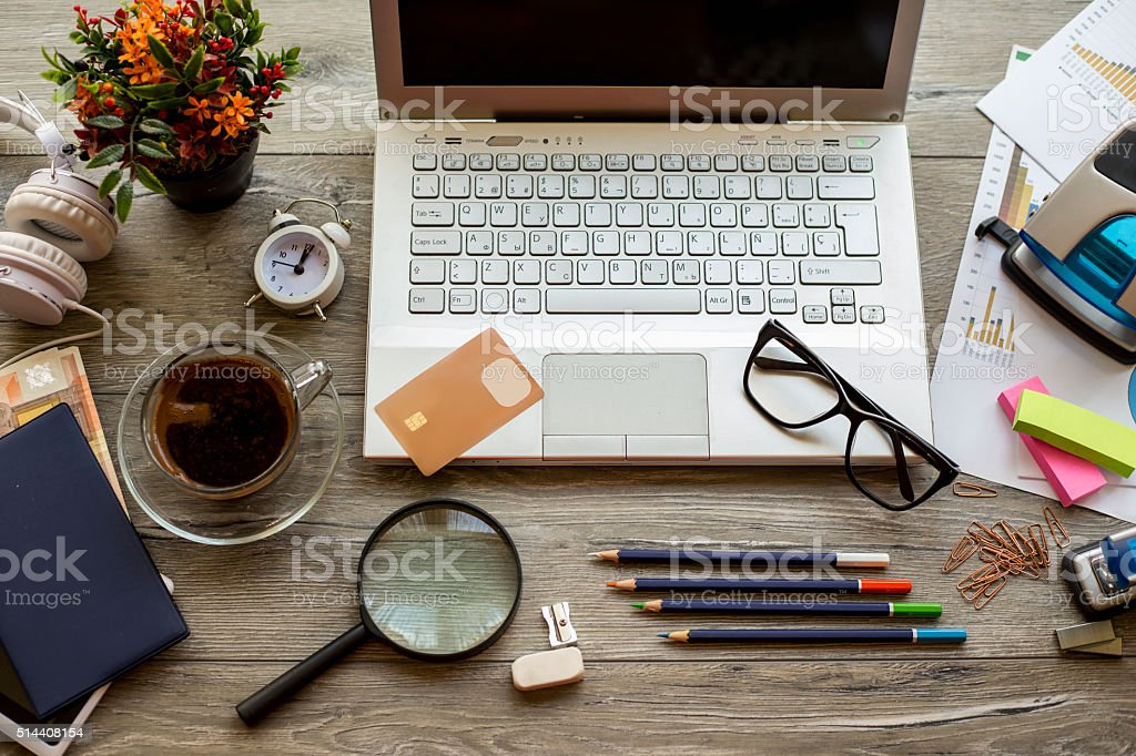 office working desk stock photo