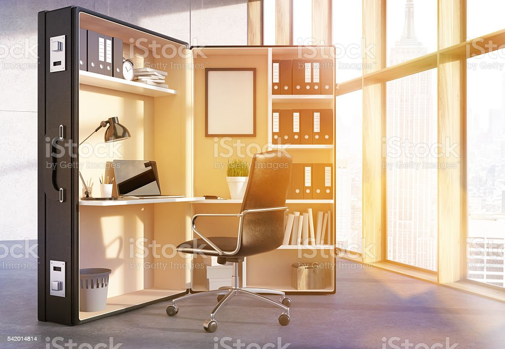 Office workplace inside suitcase toning stock photo