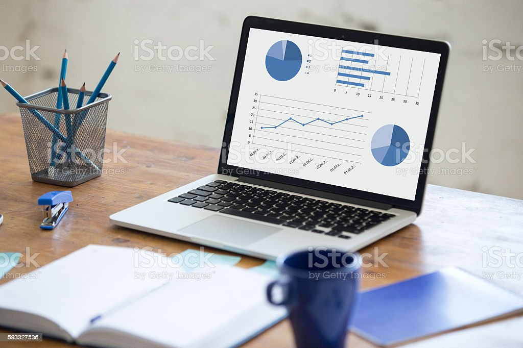 Office workspace. Close-up of desk stock photo