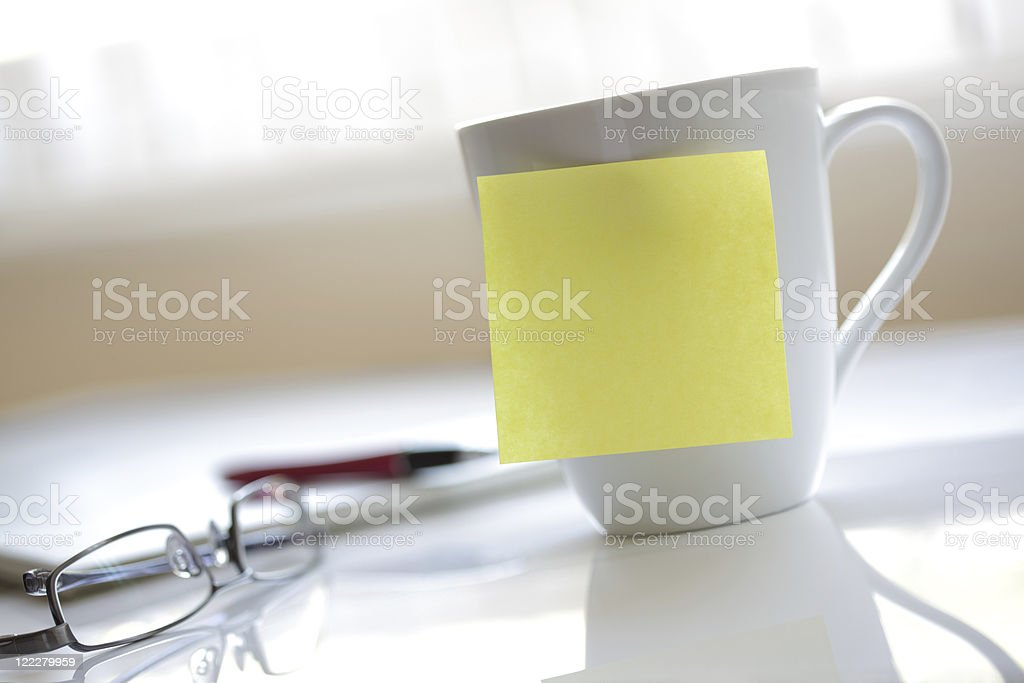 Office yellow sticky note stock photo