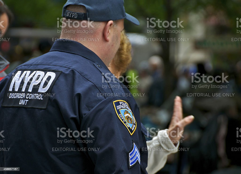 NYPD 'DISORDER CONTROL UNIT' Officer at Zuccotti Park, NYC stock photo