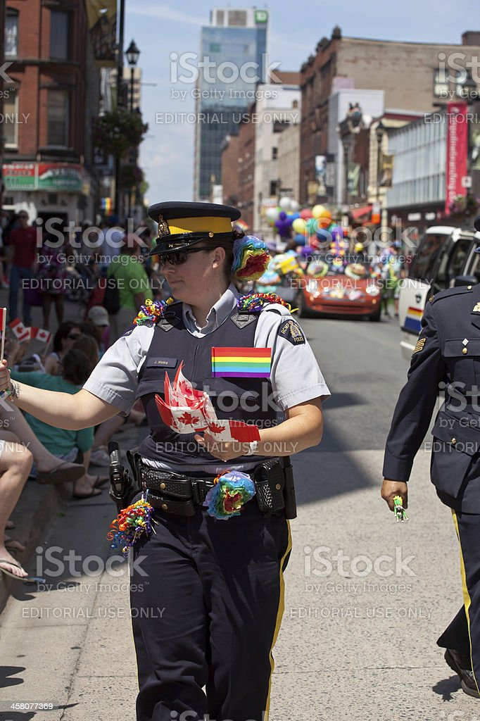 RCMP Officer in Pride Parade royalty-free stock photo