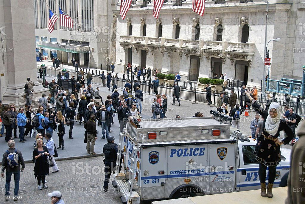 NYPD ESU Officer, Vehicle, Federal Hall, Wall Street, NYC royalty-free stock photo