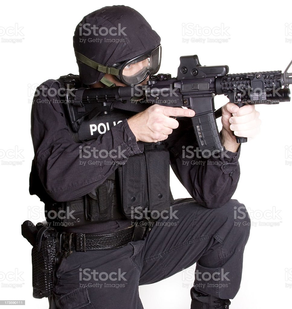 SWAT Officer with Rifle stock photo