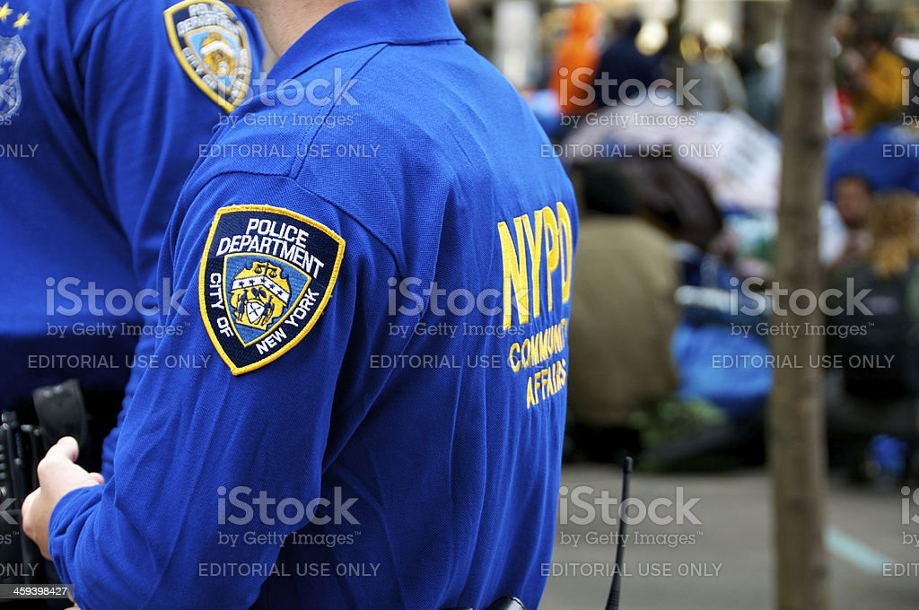 NYPD 'COMMUNITY AFFAIRS' Officers at Zuccotti Park, NYC stock photo