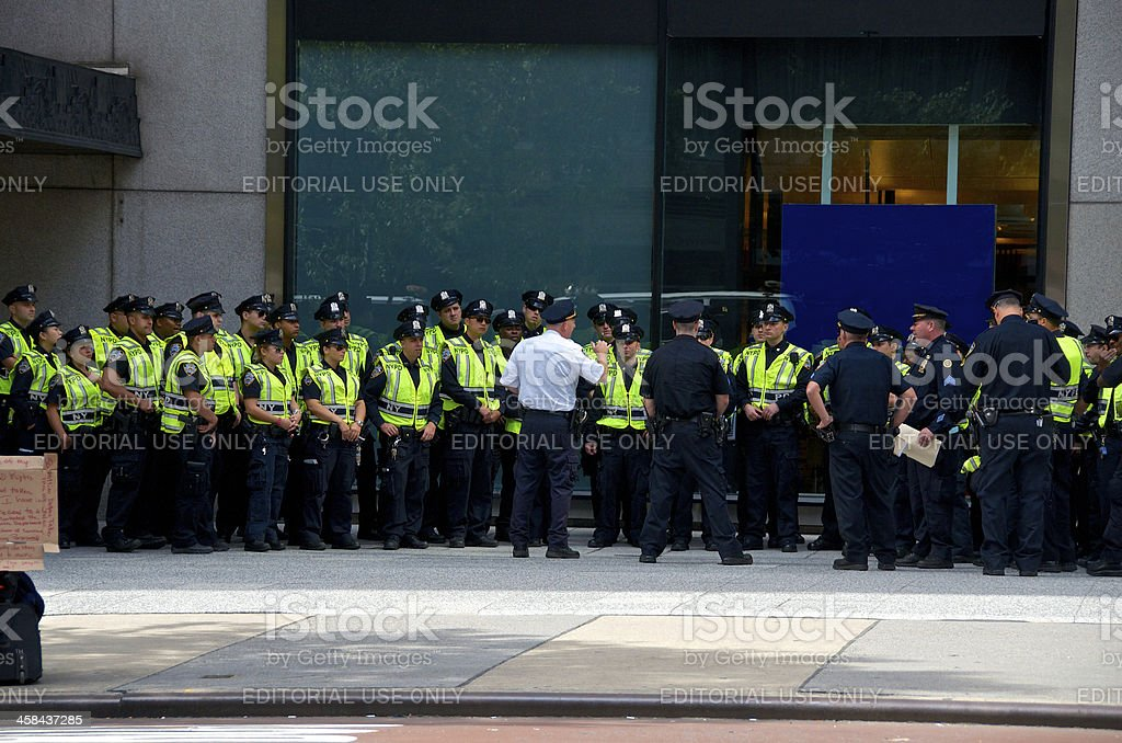 NYPD Officers briefing for United Nations events, New York City royalty-free stock photo