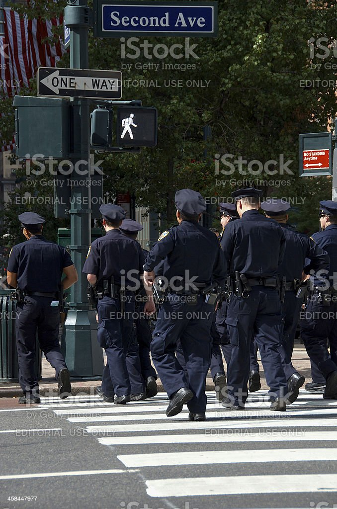 NYPD Officers during United Nations Assembly events, New York City royalty-free stock photo