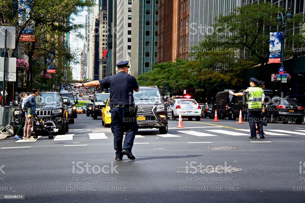 NYPD Officers during United Nations Assembly events, New York City stock photo