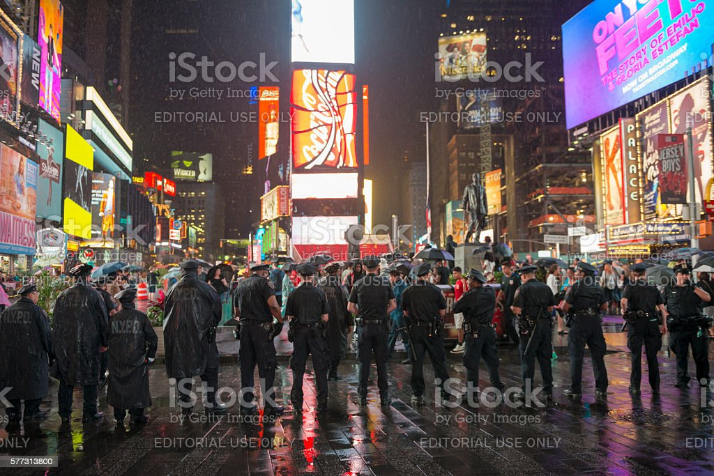 NYPD officers in Times Square during Black Lives Matter protest stock photo