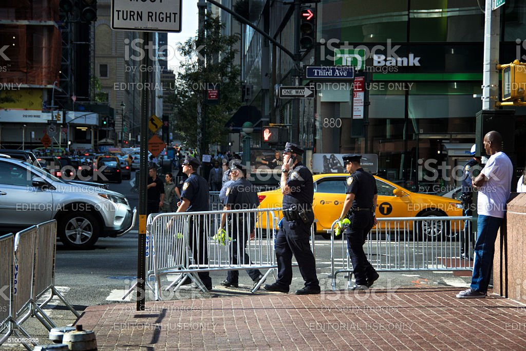 NYPD Officers Moving during United Nations Assembly events, Manhattan, NYC stock photo