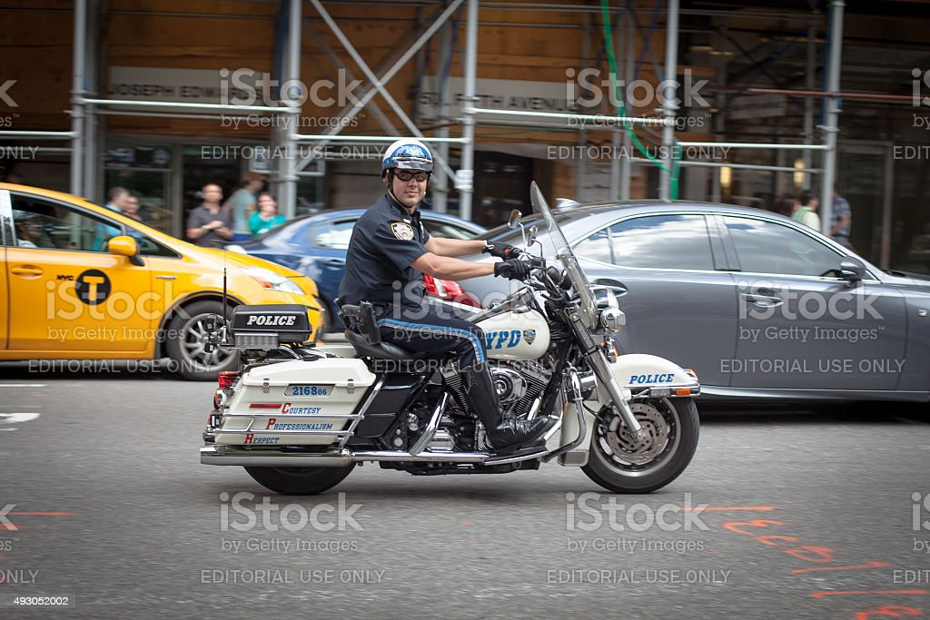 NYPD officers on motorcycles stock photo