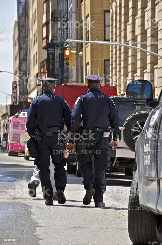 NYPD officers on patrol along Greenwich St near Ground Zero stock photo