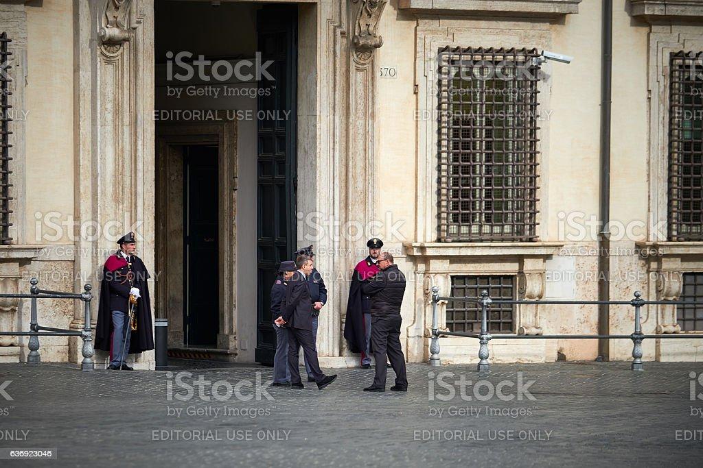 Officers Palazzo Chigi's main entrance stock photo