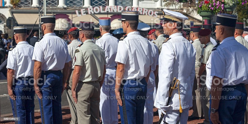 Officers parading during Bastille Day stock photo