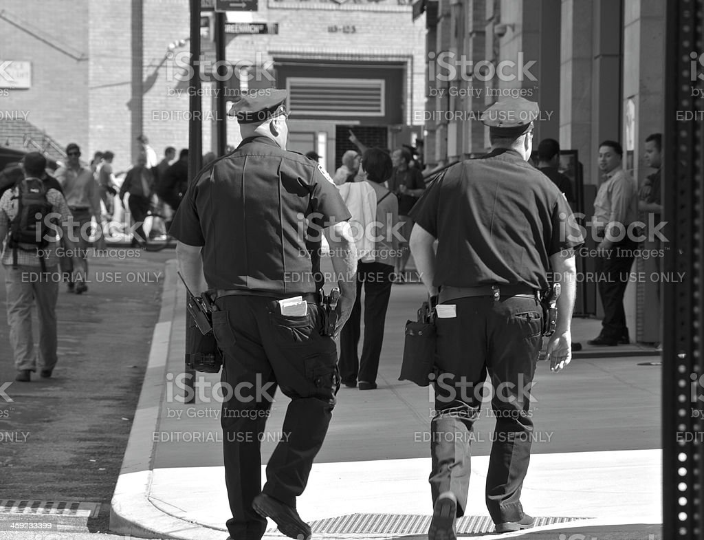 NYPD officers patrol near Ground Zero, New York City stock photo