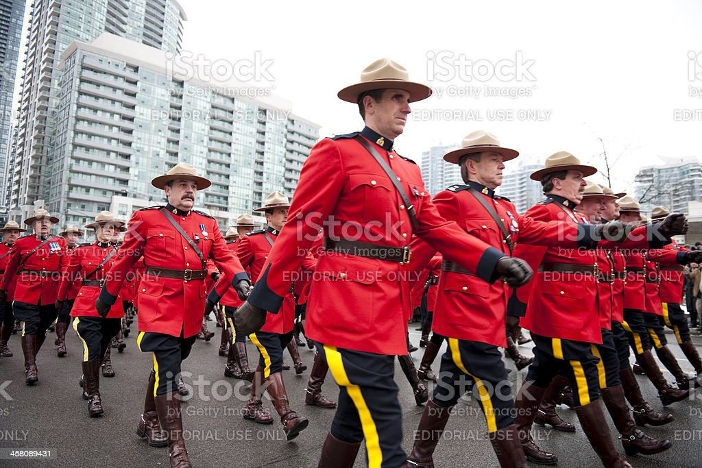RCMP Officers, Procession March royalty-free stock photo