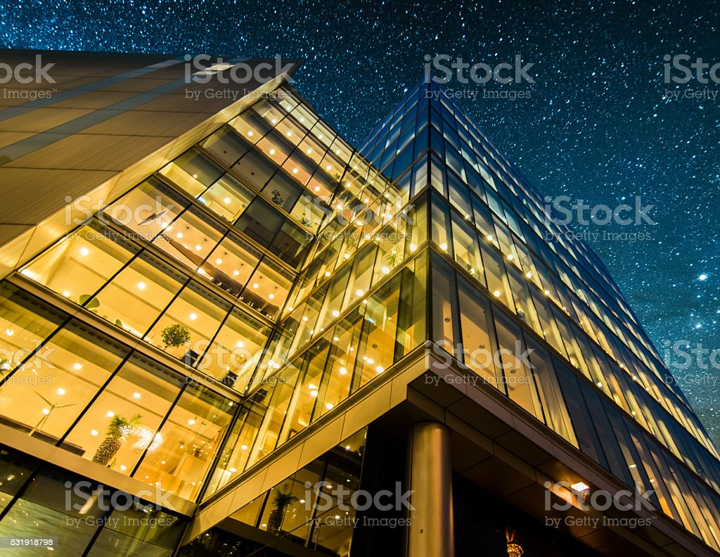 Offices at night stock photo