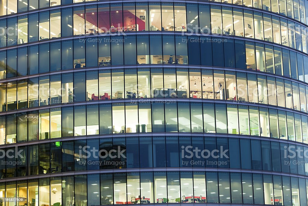 Offices Illuminated at Night, London, England royalty-free stock photo