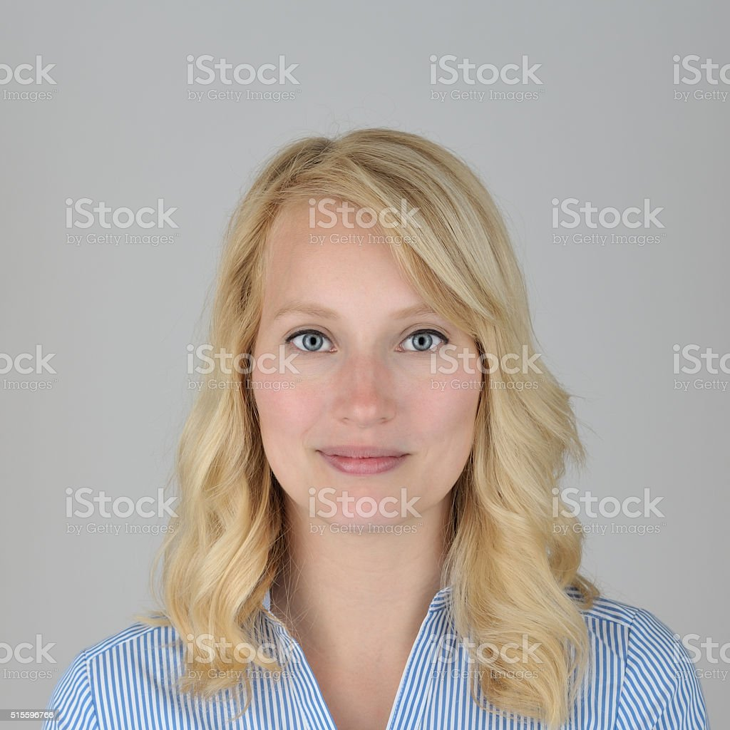 official portrait of a blonde woman stock photo
