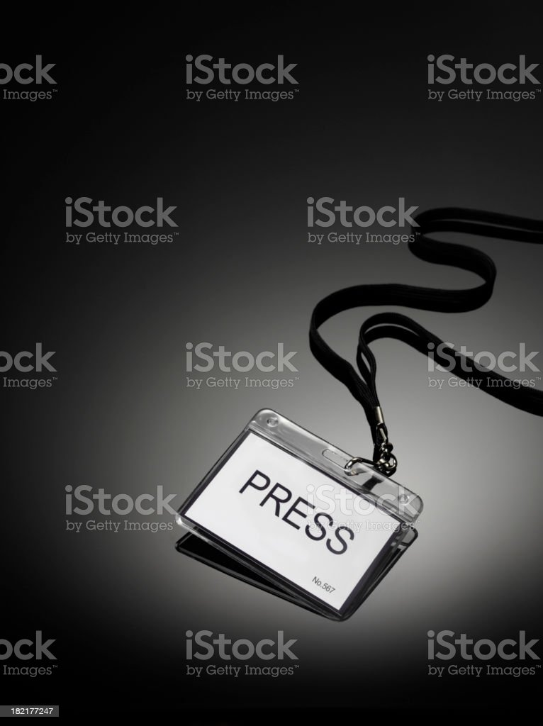 Official Press Badge stock photo