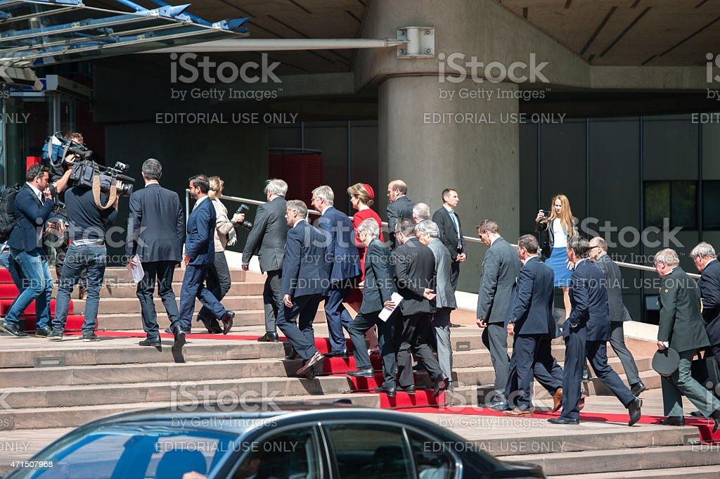 Official Visit Strasbourg  Filip of Belgium Queen Mathilde of Belgium stock photo