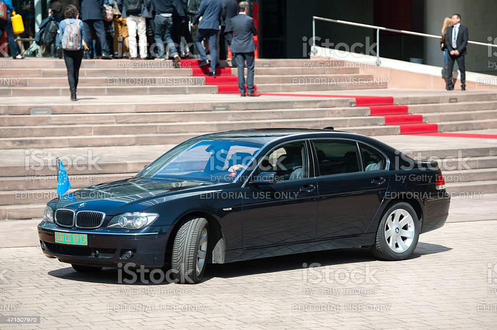 Official Visit to Strasbourg Royal Visit Limousine with Eu Flag stock photo