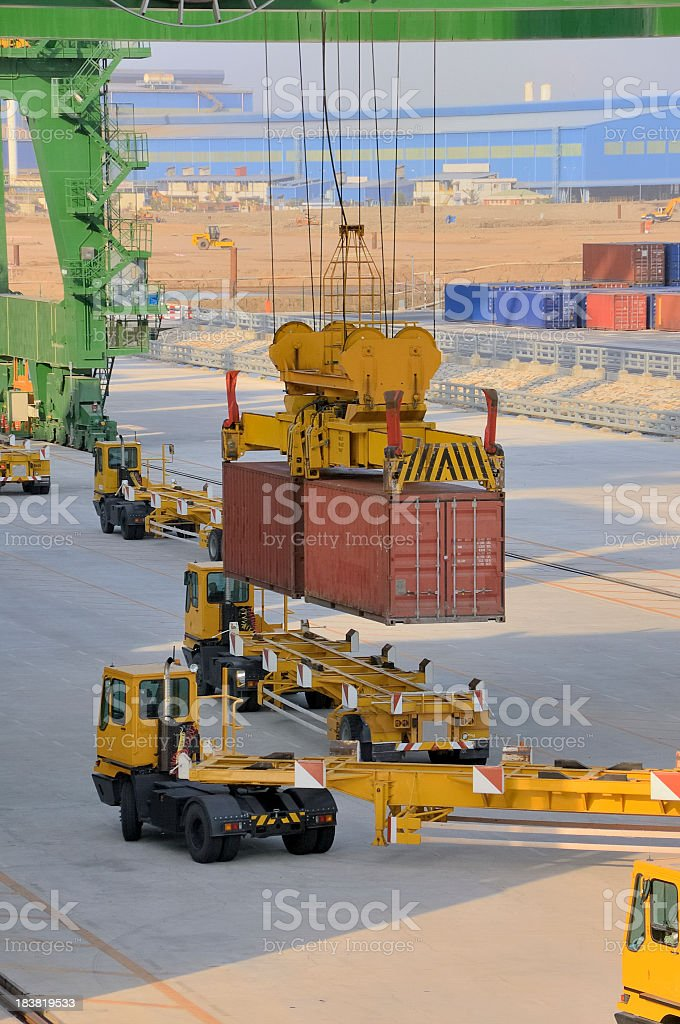 Offloading Container Ship In Phu My Vietnam royalty-free stock photo