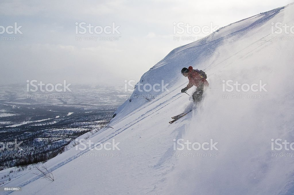 Offpist skiing stock photo