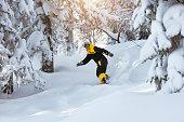 Off-piste riding snowboarding ski snowboarder