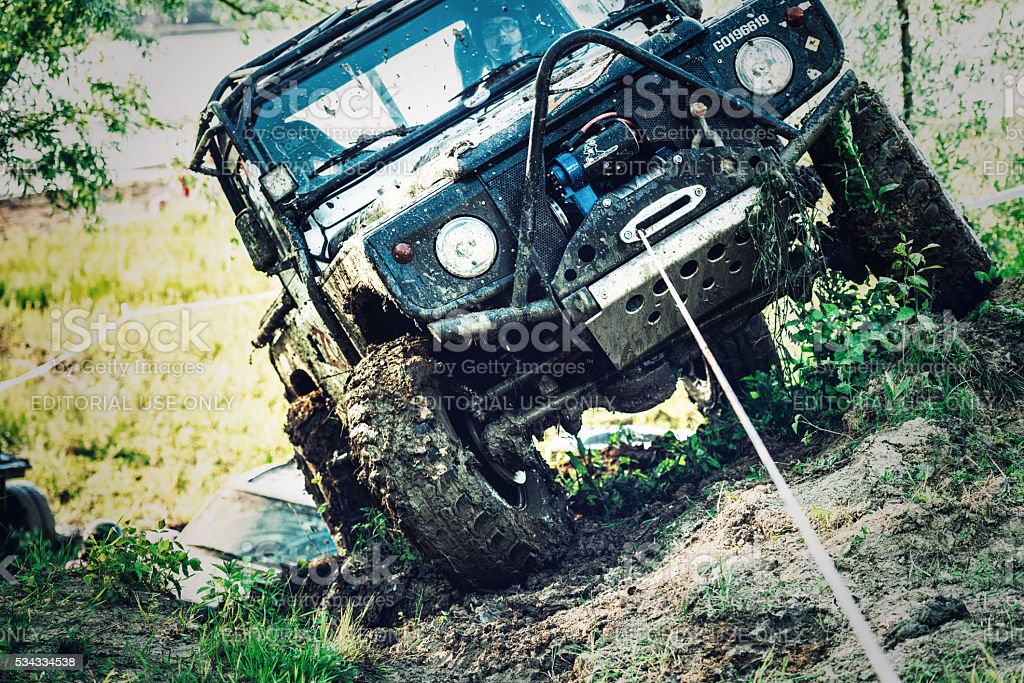 off-road 4x4 car race stock photo