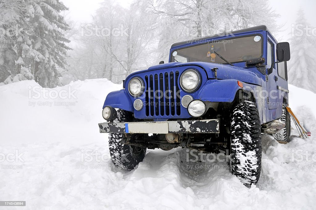 offroad 4x4 in the snow stock photo