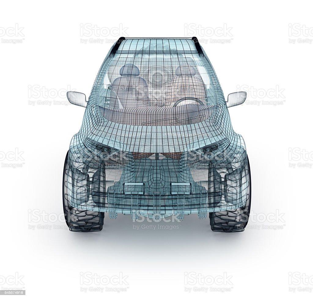 Offroad car design, wire model.  My own design. stock photo