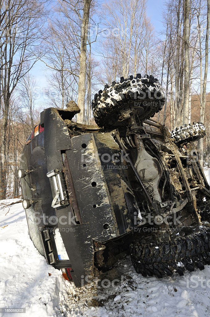 Offroad race car in the woods of winter season stock photo