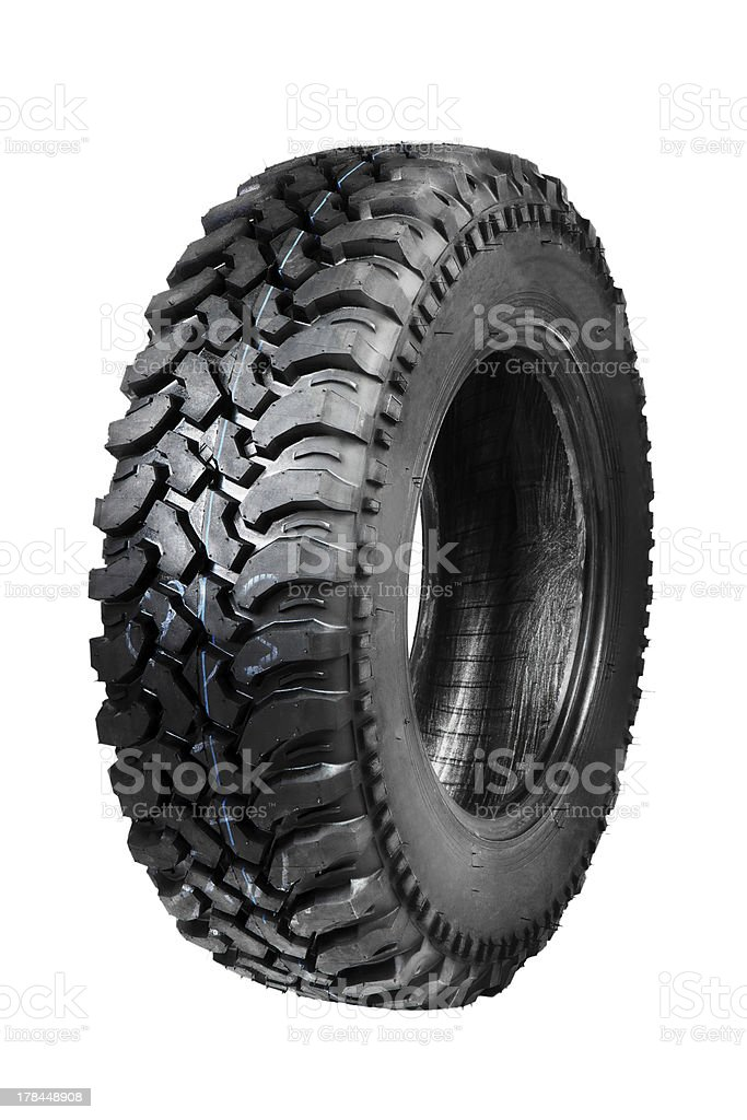 offroad tyre isolated on white stock photo