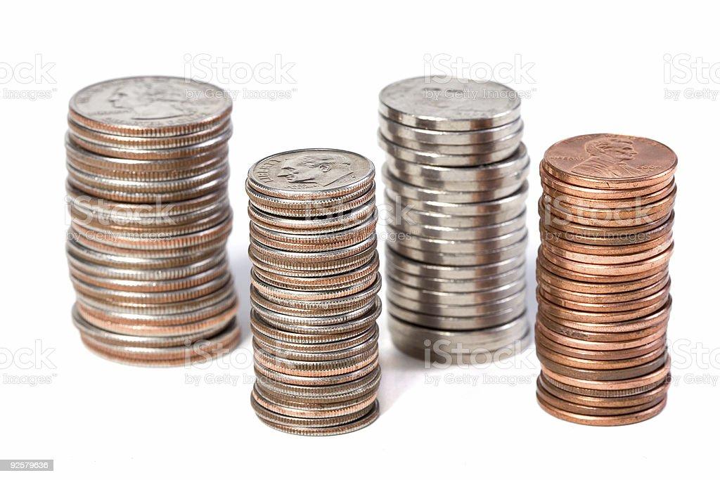 Offset Coin Stacks stock photo